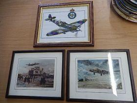 Joe Crawfoot hand mounted signed prints 'Royal Flush' 'winter at Thorpe Abbotts' and one stitch work