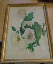 Elsie Elizabeth Guoss oil on board flowers 16 1/2 x 11 1/2 inches