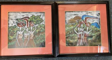 A pair of pastel studies of African women in landscape scene glazed and framed 39cm x 39cm each