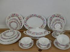 Minton 'Rose Garland' part dinner service comprising of 1 terrine, 1 serving platter, 6 x soup bowls