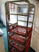 "Wheeled tray racking with trays 25"" x 71"""