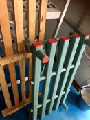 Plastic floor rack and wooden floor rack