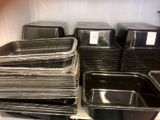 """black plastic product trays approx. 240 in lot 10""""x 12"""""""