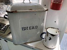 Vintage enamel bread bin with enamel jug and bath