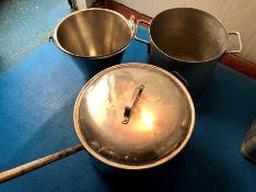 1 bucket, 1 aluminium pan and 1 aluminium sauce pan