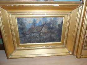 E Rallent ? pair of oils on canvas of Thatched Cottage and Woods 19th century both signed middle