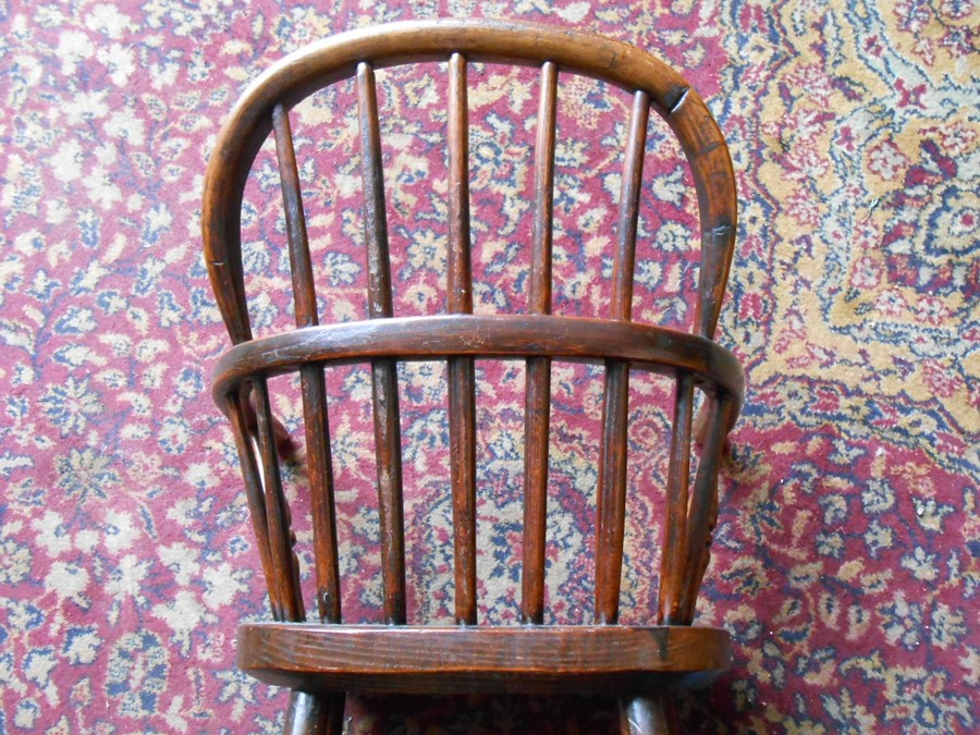 Antique Childs Windsor Chair seat 14 inches wide 10 deep 13 tall overall height 27 inches tall - Image 5 of 5