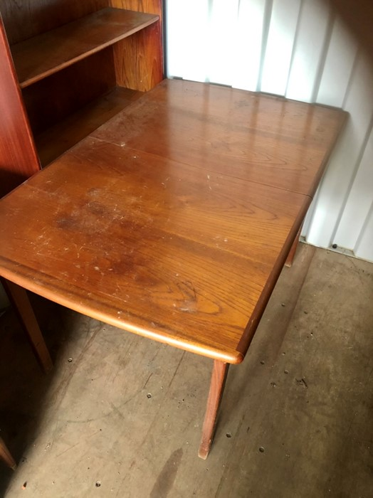 G Plan extending dining table and 3 chair frames ( table and chairs all have loose joints so in need