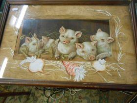 Miss S A Winn Prize Piggies framed print ( 16 x 8 inches ) Copywright 1891 L Prang and co Boston