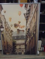 """Hot air balloons over Paris, large modern framed picture 55x39"""""""