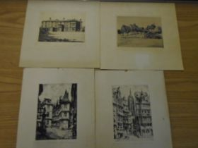 4 signed etchings