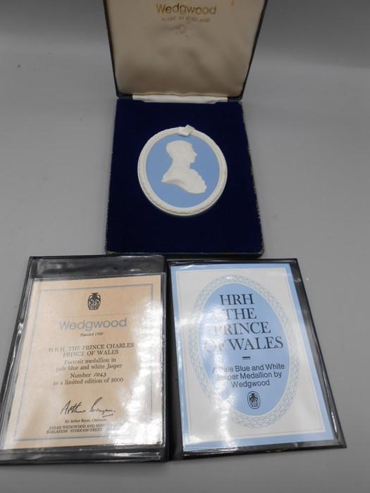 3 Cased Wedgwood Portrait Medallions Prince Charles no 1063 of 3000 , Duke of Edinburgh no 945 of - Image 4 of 4