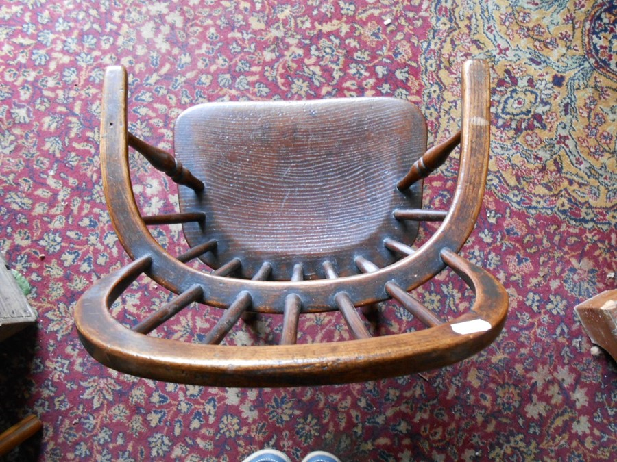 Antique Childs Windsor Chair seat 14 inches wide 10 deep 13 tall overall height 27 inches tall - Image 3 of 5