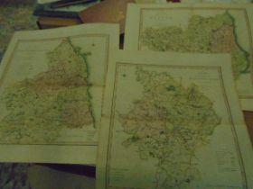 C.Smith 3 double page maps Northumberland, Huntingdon, Durham- 1808