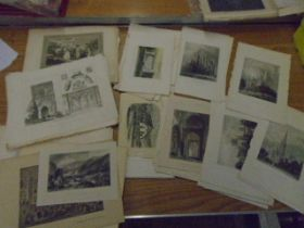 Prints of buildings and interiors approx 80 various sizes