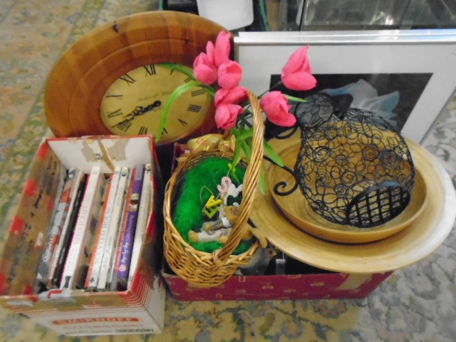 job lot of mixed items to include craft books, clock, wire jug, wooden chargers, decorations - Image 2 of 2