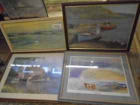 4 large framed prints, 3 of beach scenes and one of a cottage