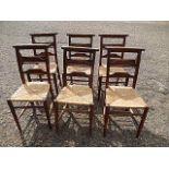 6 church chairs with raffia seats