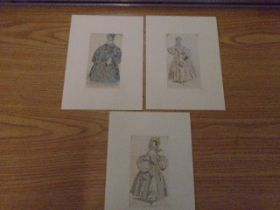 """3 prints of costumes, mounted 3x6"""""""
