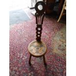 Oak Spinners Chair seat 10 inches wide 14 tall 33 inches overall height