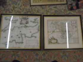 2 Repro maps 1729 framed map of France/England channel and 1729 map of Darbyshire
