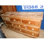 Large Pine 7 Drawer Chest 150 cm long 44 deep and 76 cm tall ( mouldy at base from old damp house )