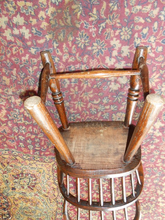 Antique Childs Windsor Chair seat 14 inches wide 10 deep 13 tall overall height 27 inches tall - Image 4 of 5
