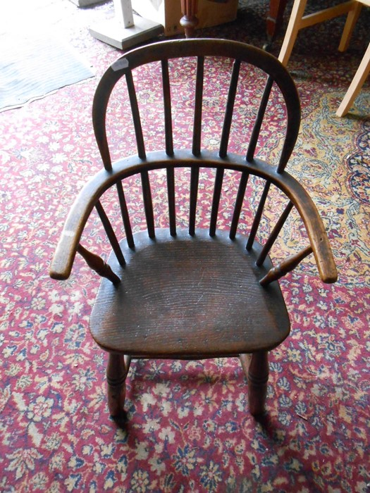 Antique Childs Windsor Chair seat 14 inches wide 10 deep 13 tall overall height 27 inches tall