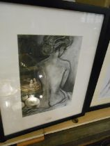 2 Charcoal Sketches of Nudes . Seated one 12 x 8 1/2 inches Standing one 9 x 18 inches