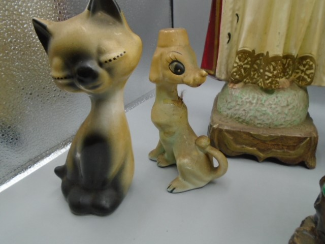 Religious figurines, 4 birds and vintage cat and dog - Image 3 of 4