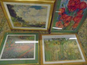 4 large framed prints