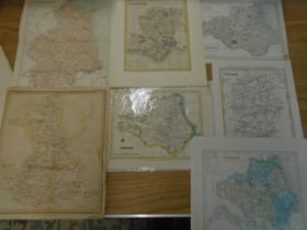 Maps Wiltshire, Hampshire, Durham, Northumberland plus a map of roads measured from Hyde park-