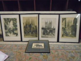 Cathederal prints x 4 plus a print of horses ploughing
