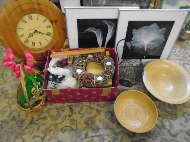 job lot of mixed items to include craft books, clock, wire jug, wooden chargers, decorations