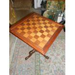 Chess Draughts Table on mahogany base 17 x 17 x 27 inches tall