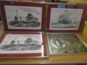 Steamboat prints and a globe print