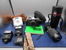 Fujica st605n camera, Kodak Brownie camera, flashes and a lens