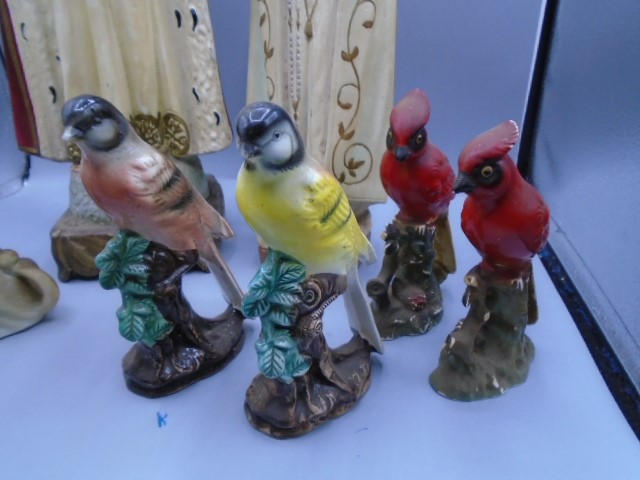Religious figurines, 4 birds and vintage cat and dog - Image 2 of 4