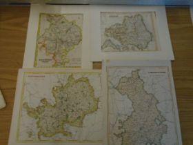 Maps Huntingdonshire, Hertfordshire. Cambridgeshire, Durham