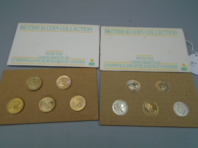 2 sets of 5 British £1 coin collections