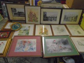 Prints and watercolours, job lot