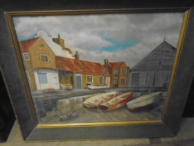 P.W Smith oil on canvas of Sheringham crab boats 1973