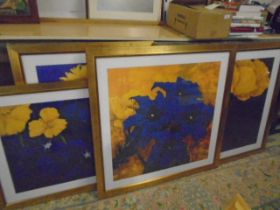 4 abstract flower prints, large