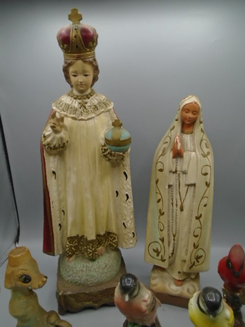 Religious figurines, 4 birds and vintage cat and dog - Image 4 of 4