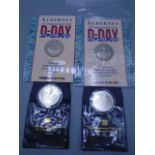 D day coins 2 x £2 Alderney and 2 x one dollar coins