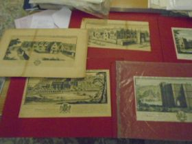"""7 prints of castles on red mounts (appear vintage) each 14.5x7.5"""""""