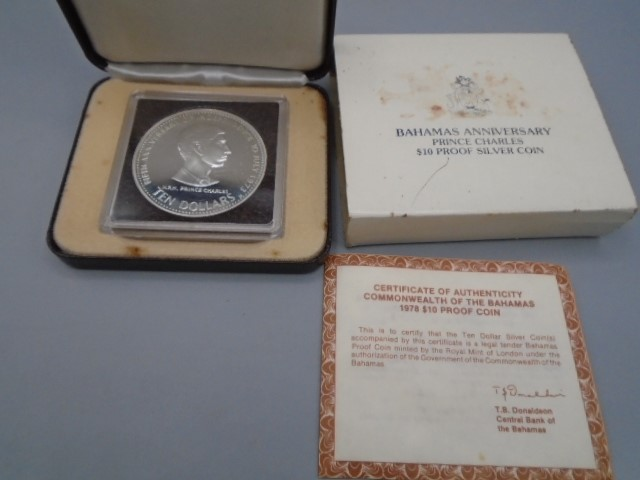 Silver ten dollar Bahamas 1978 in box Prince Charles