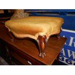 Victorian Mahogany Footstool 14 x 13 inches 7 tall