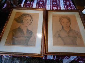 Lady Lister and Lady Parker 2 framed drawings 10 x 14 1/2 inches