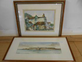 Alexandre Bonade 1991 watercolour of Saint malo46x21 cm and Len Hubbard '93 of a cottage